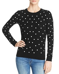 Bloomingdale's C By Polka Dot Cashmere Sweater 100 Exclusive Black White