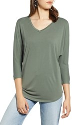Halogen Relaxed V Neck Top Military Green