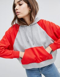 Monki Colourblock Cropped Hoodie Grey And Red