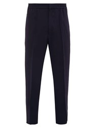 Alexander Mcqueen Piped Tapered Leg Crepe Trousers Navy