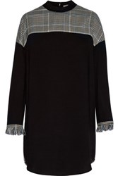 3.1 Phillip Lim Fringed Stretch Wool And Mohair Blend Tweed And Twill Mini Dress Black