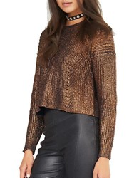 Kendall Kylie Long Sleeve Cotton Pullover Bronze