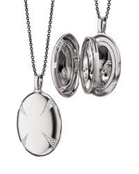 Monica Rich Kosann Sterling Silver And White Sapphire Locket Necklace