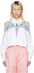 Marcelo Burlon County Of Milan White Oversized Wings Cropped Hoodie