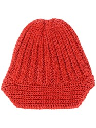 Missoni Knitted Beanie Hat Red