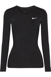 Nike Pro Cool Mesh Paneled Dri Fit Stretch Jersey Top Black