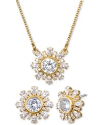Jewel Badgley Mischka Crystal Flower 16 Pendant Necklace And Stud Earrings Set Gold