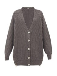 Stella Mccartney Oversized Zipped Side Ribbed Wool Cardigan Grey