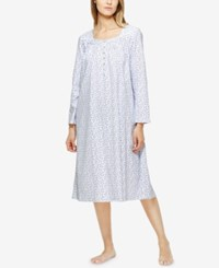 Eileen West Lace Trimmed Printed Nightgown White Blue Dots