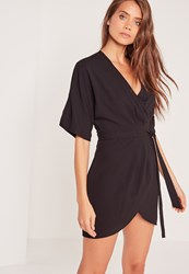 Missguided Kimono Wrap Over Belted Mini Dress Black Black