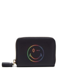 Anya Hindmarch Rainbow Wink Zip Around Leather Wallet Navy Multi