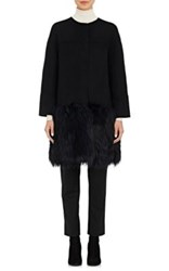 Barneys New York Women's Fur Hem Wool Blend Melton Coat Black