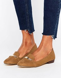 Oasis Slip On Loafers With Metal Bar Tan Brown