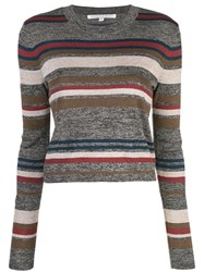 Veronica Beard Striped Knitted Top Grey