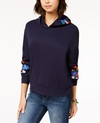 Almost Famous Juniors' Floral Embroidered Hoodie Navy