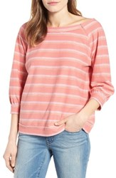Caslonr Women's Caslon Back Button Pullover Pink White Triple Stripe