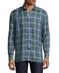 Luciano Barbera Plaid Print Linen Sport Shirt Multi