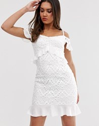 Love Triangle Bardot Lace Dress With Ruffle Waist In White