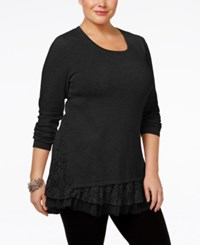 Styleandco. Style Co. Plus Size Lace Trim Tunic Only At Macy's Deep Black