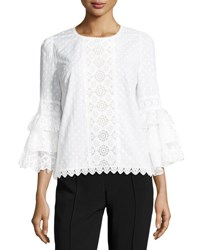 Andrew Gn Tiered Ruffle Sleeve Voile Blouse White