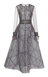 Georges Hobeika Bead Embroidered A Line Dress Grey