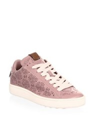 Coach Floral Cut Out Leather Sneakers Dusty Rose