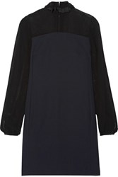 Karl Lagerfeld Chiffon Paneled Crepe Mini Dress Midnight Blue