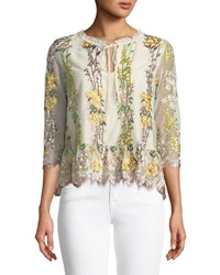 Cupcakes And Cashmere Almeta Floral Embroidered 3 4 Sleeve Top Beige