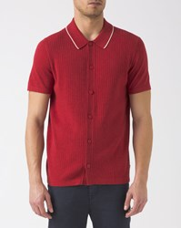Ben Sherman Red Button Up Knitted Polo