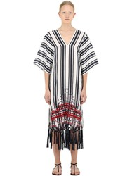 Tory Burch Embroidered Linen Caftan Dress Blue White