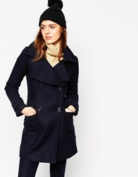 Asos Military Double Breasted Overcoat With Oversized Collar Navy