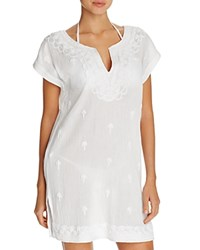 Tommy Bahama Embroidered Tunic Swim Cover Up White