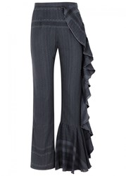Cecilie Copenhagen Aphrodelic Ruffled Jacquard Trousers Grey