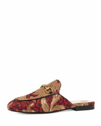 Gucci Princetown Jacquard Horsebit Mule Red Gold Red Gold