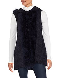 Saks Fifth Avenue Marabou Fur Trim Hooded Vest Blue