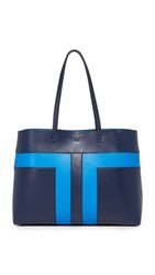 Tory Burch Block T Pieced Tote Tory Navy Galleria Blue