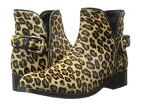 Just Cavalli Leopard Pony Hair Ankle Boot Leather Brown Women's Pull On Boots