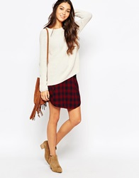 Esprit Check Mini Skirt Garnetred