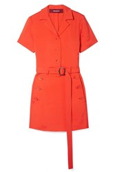Sies Marjan Thandie Belted Stretch Ponte Mini Dress Bright Orange