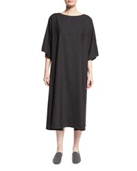 Eskandar Boat Neck T Shirt Dress Charcoal