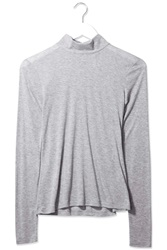 Jersey Roll Neck Top By Boutique Light Grey M