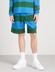 Billionaire Boys Club Striped Relaxed Fit Cotton Terrycloth Shorts Green