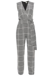 L'agence Woman Wrap Effect Checked Silk Crepe De Chine Jumpsuit Off White Off White