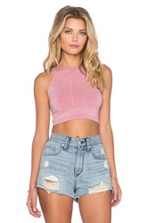 Free People Bella Coachella High Neck Crop Cami Pink