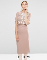 Frock And Frill Embellished Overlay Pencil Dress Taupe Brown