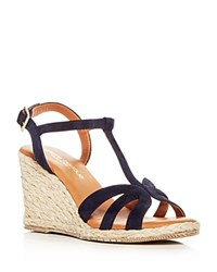 Andre Assous Women's Madina Suede T Strap Espadrille Wedge Sandals Navy
