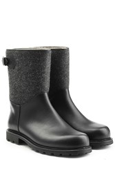 Ludwig Reiter Leather And Felt Ankle Boots Black