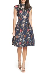 Chi Chi London Floral Print Party Dress Navy