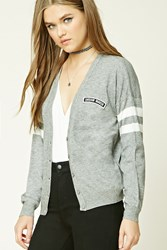 Forever 21 Patch Graphic Cardigan Heather Grey Cream