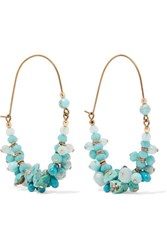 Isabel Marant Jacques Gold Tone Stone And Bead Earrings Turquoise